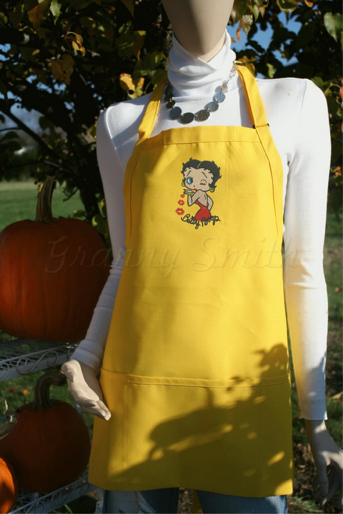 Yellow embroidered apron with Betty Boop