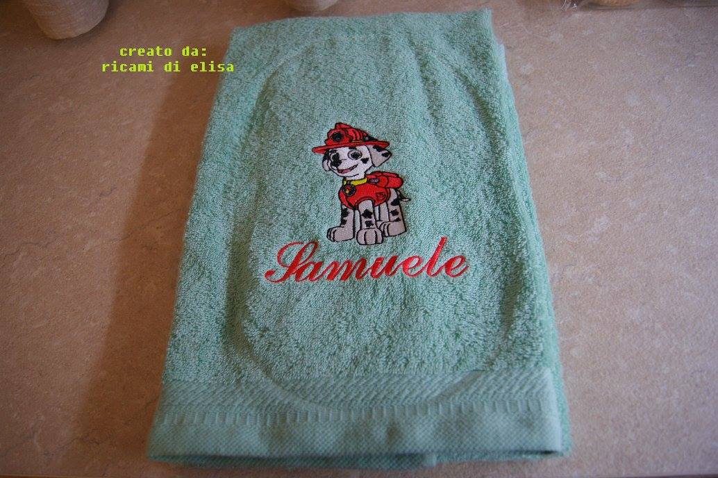 Marshall design on embroidered towel