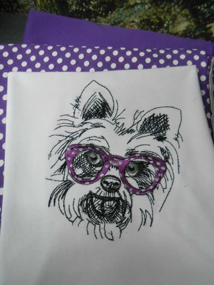 White terrier design embroidered