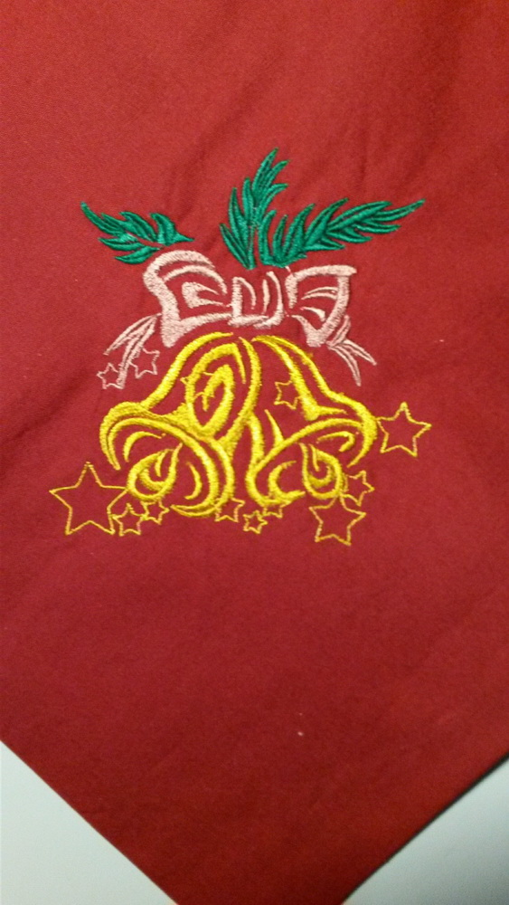 Embroidered Christmas Bells design