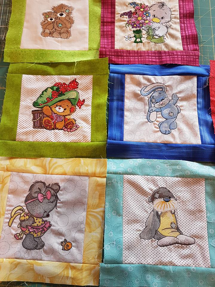 Baby quilt with cute pets embroidery designs