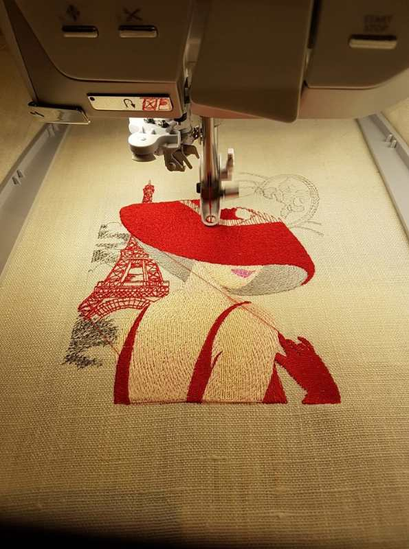 Embroidery process french woman free design