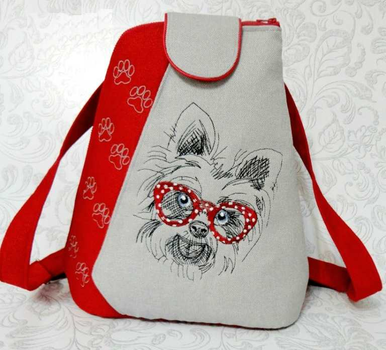 School backpack with Dog embroidery design
