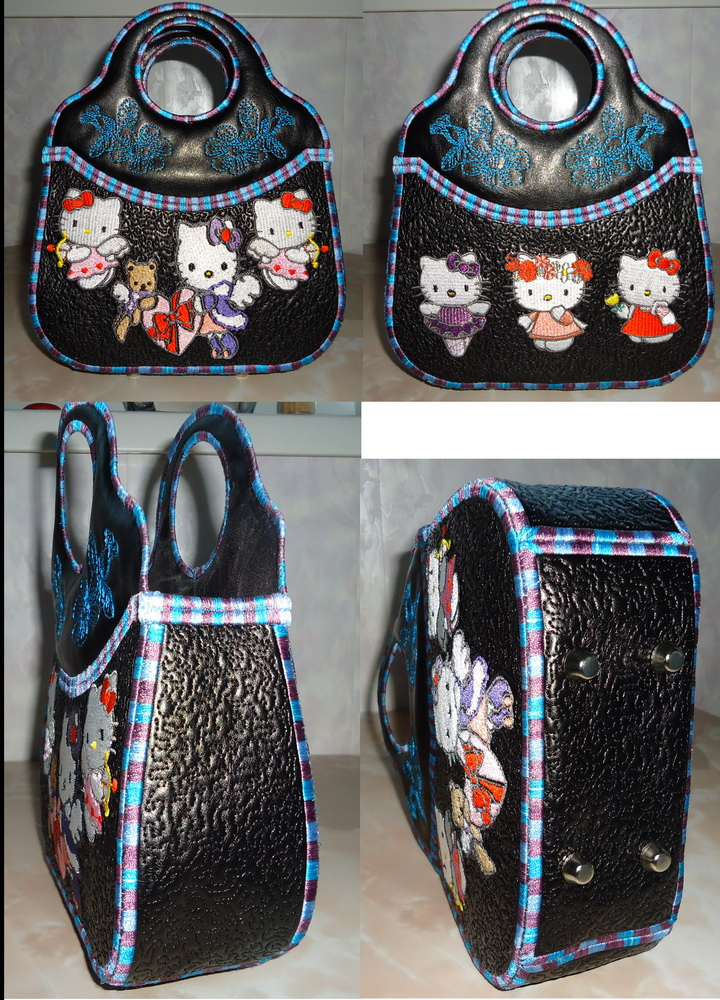 Hello Kitty designs embroidered on bag