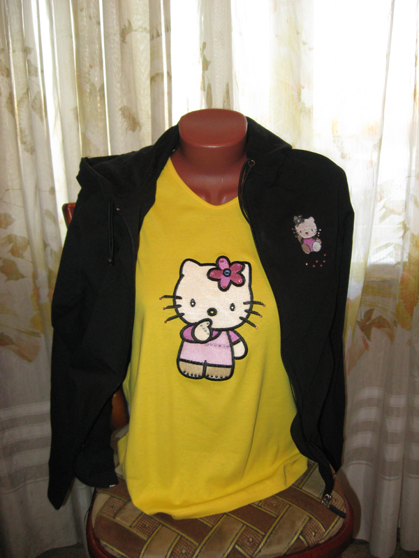 Embroidered Hello kitty I think design on t-shirt