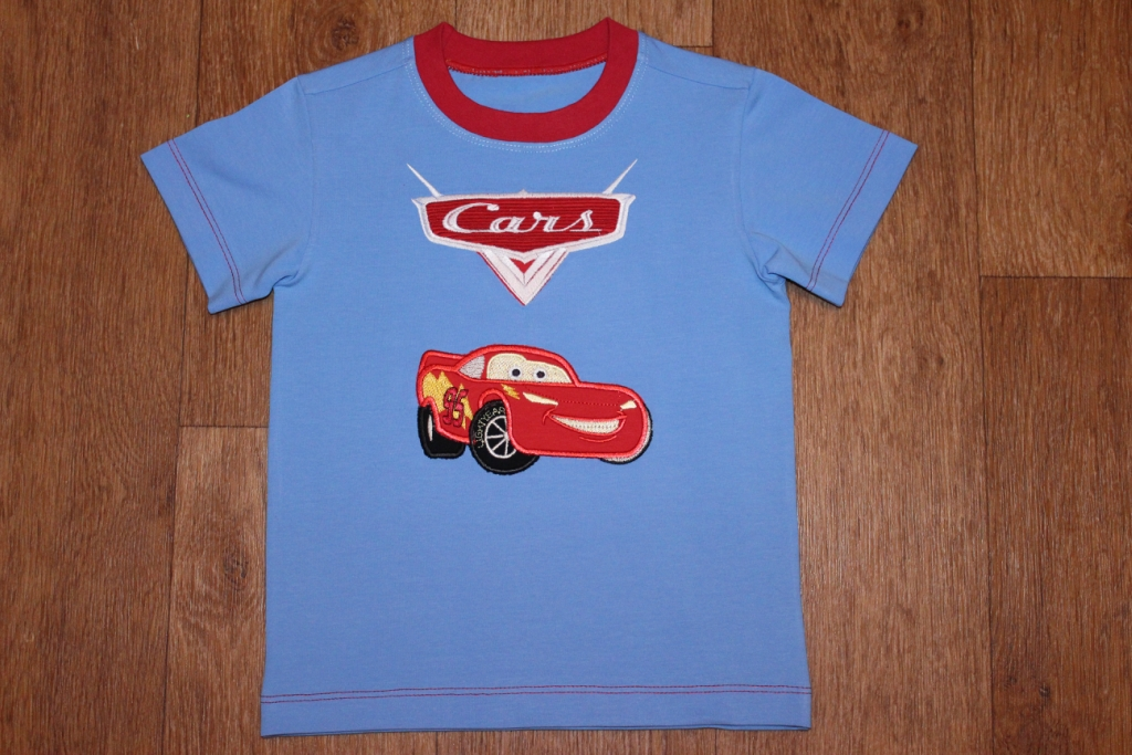 Cars designs on t-shirt embroidered