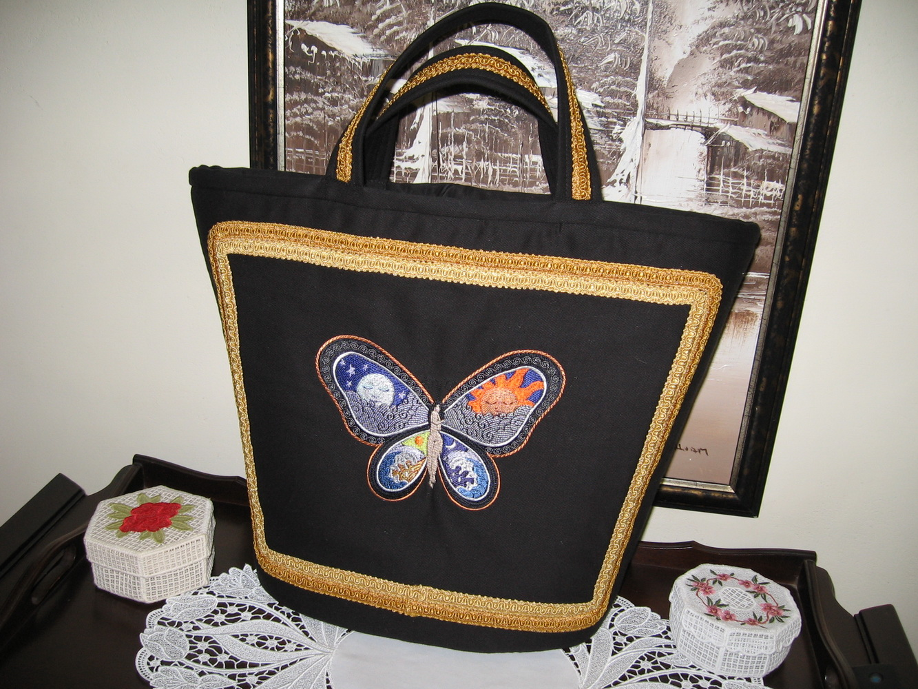 Embroidered Fantastic Butterfly Night and Day design on bag
