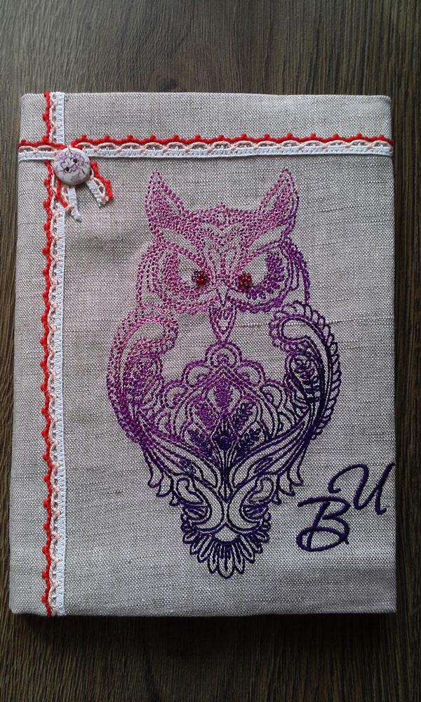 Owl blend design on napkin embroidered