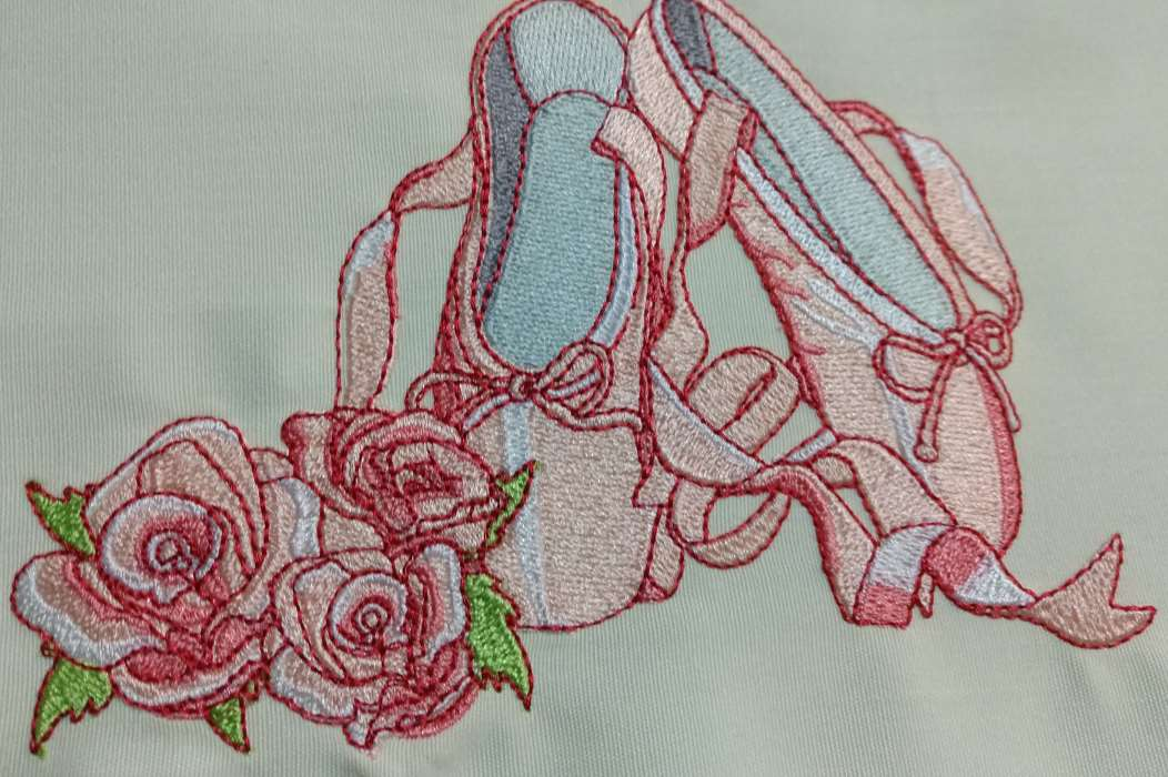 ballet shoes and roses embroidery