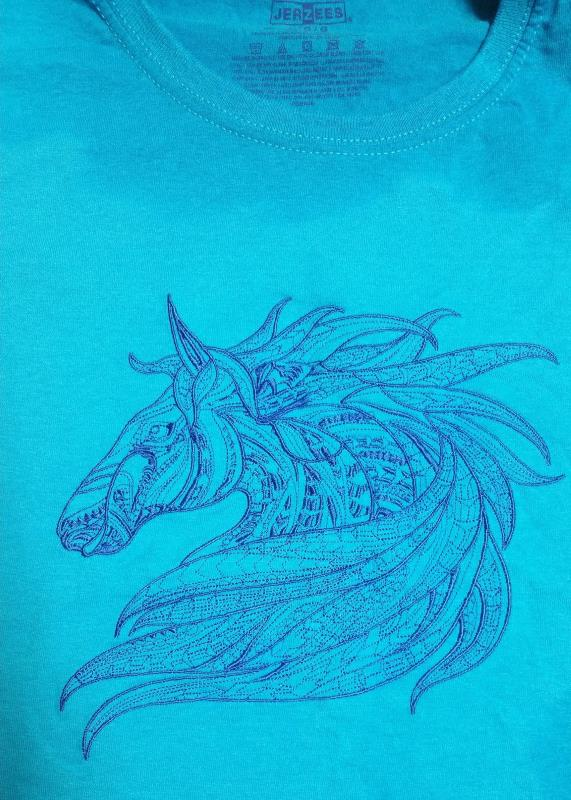 Blue cotton shirt with horse embroidery design