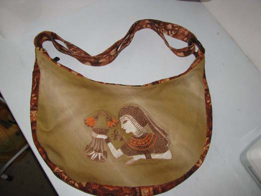 Egyptian embroidered leather bag