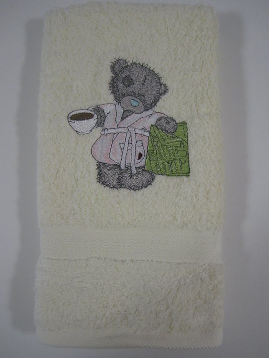 Teddy bear design embroidered  on towel