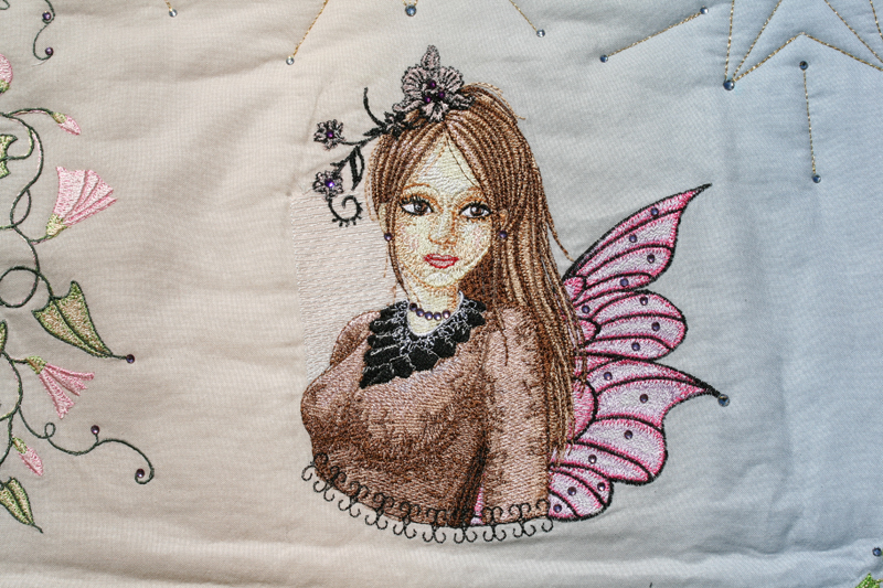 Embroidered Modern fairy on blanket