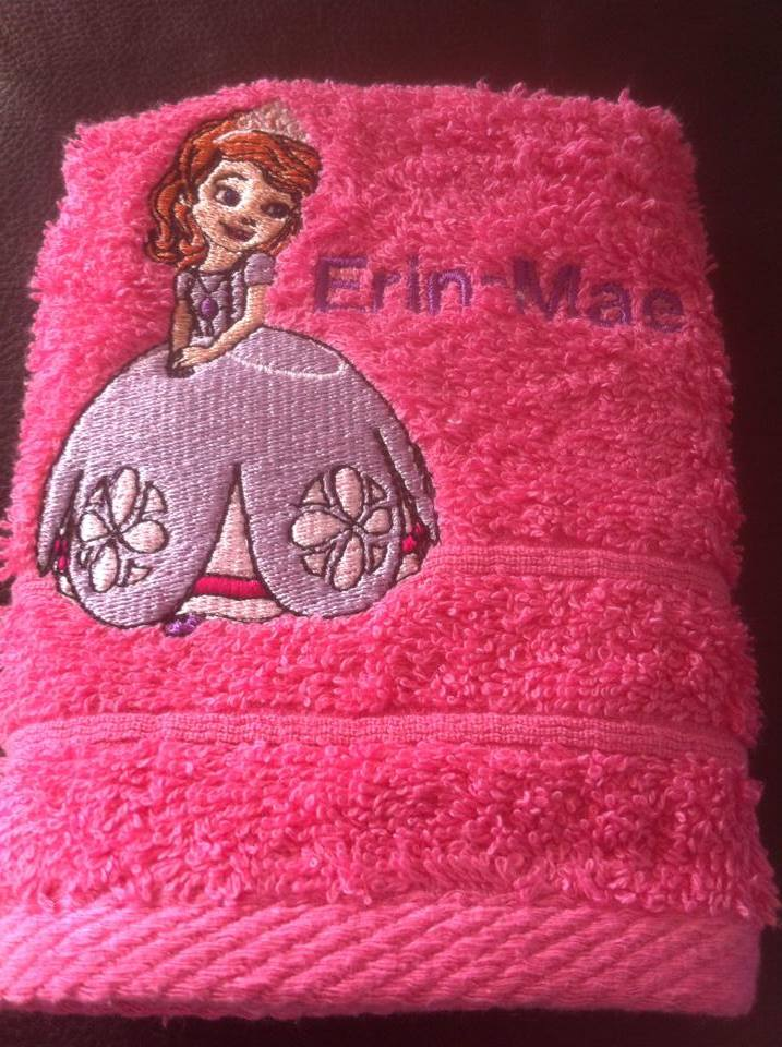 Sofia the First embroidered on bath  towel