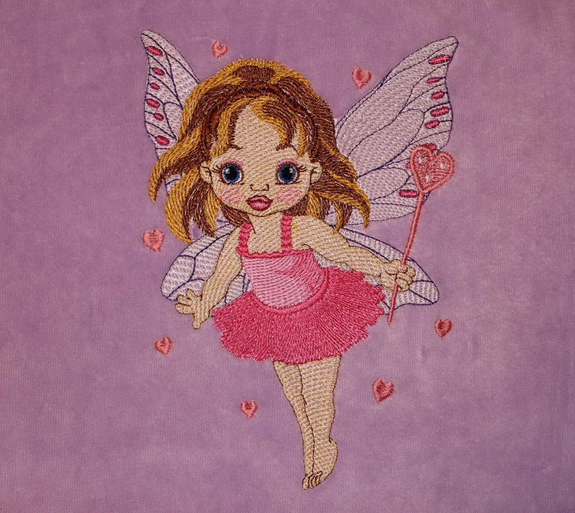 Baby love fairy design embroidered