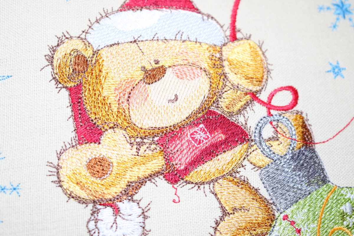Teddy Bear Christmas red hat embroidery design