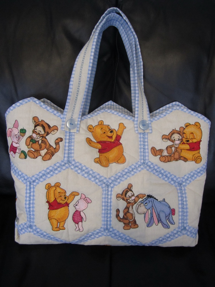 Nappy bag embroidered with baby Pooh, Tigger, Piglet and Eeyore