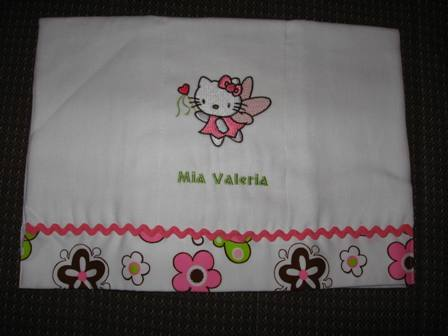 Hello kitty fairy design on embroidered white bath  towel