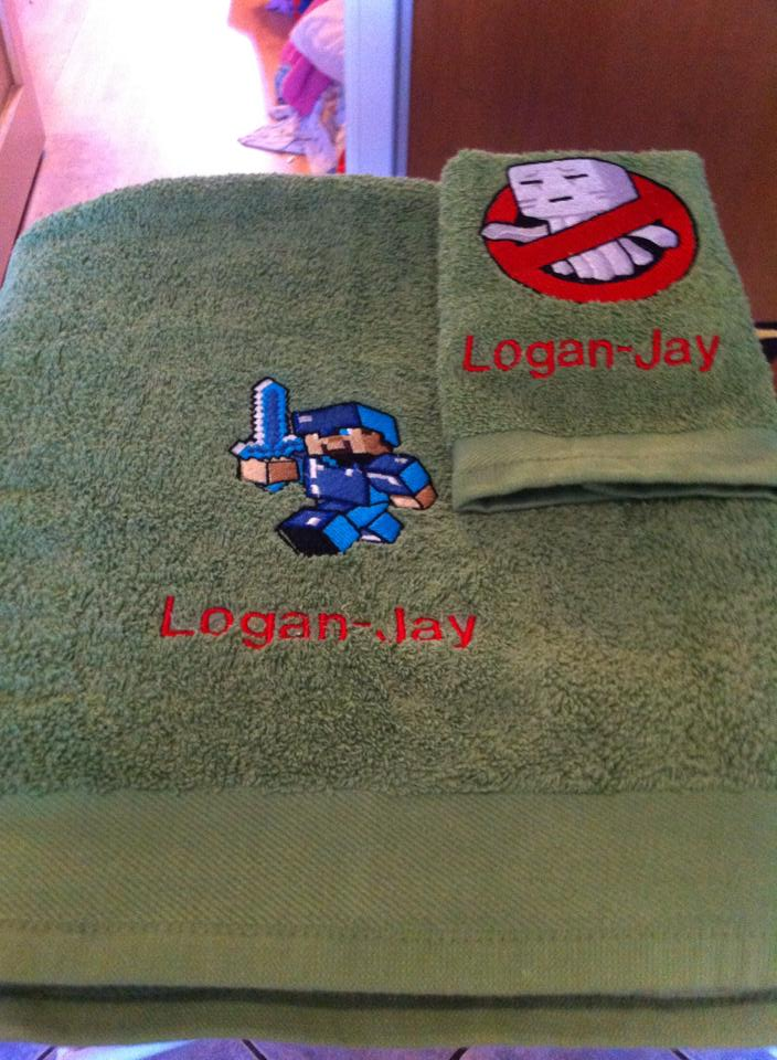Minecraft designs on embroidered towels
