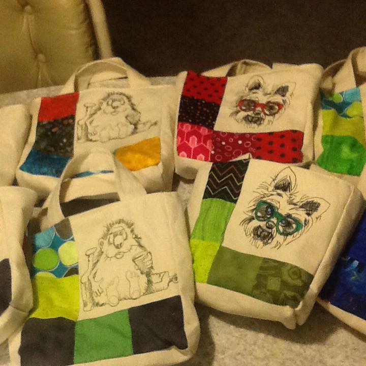Hedgehogs and dogs embroidered on summer bags