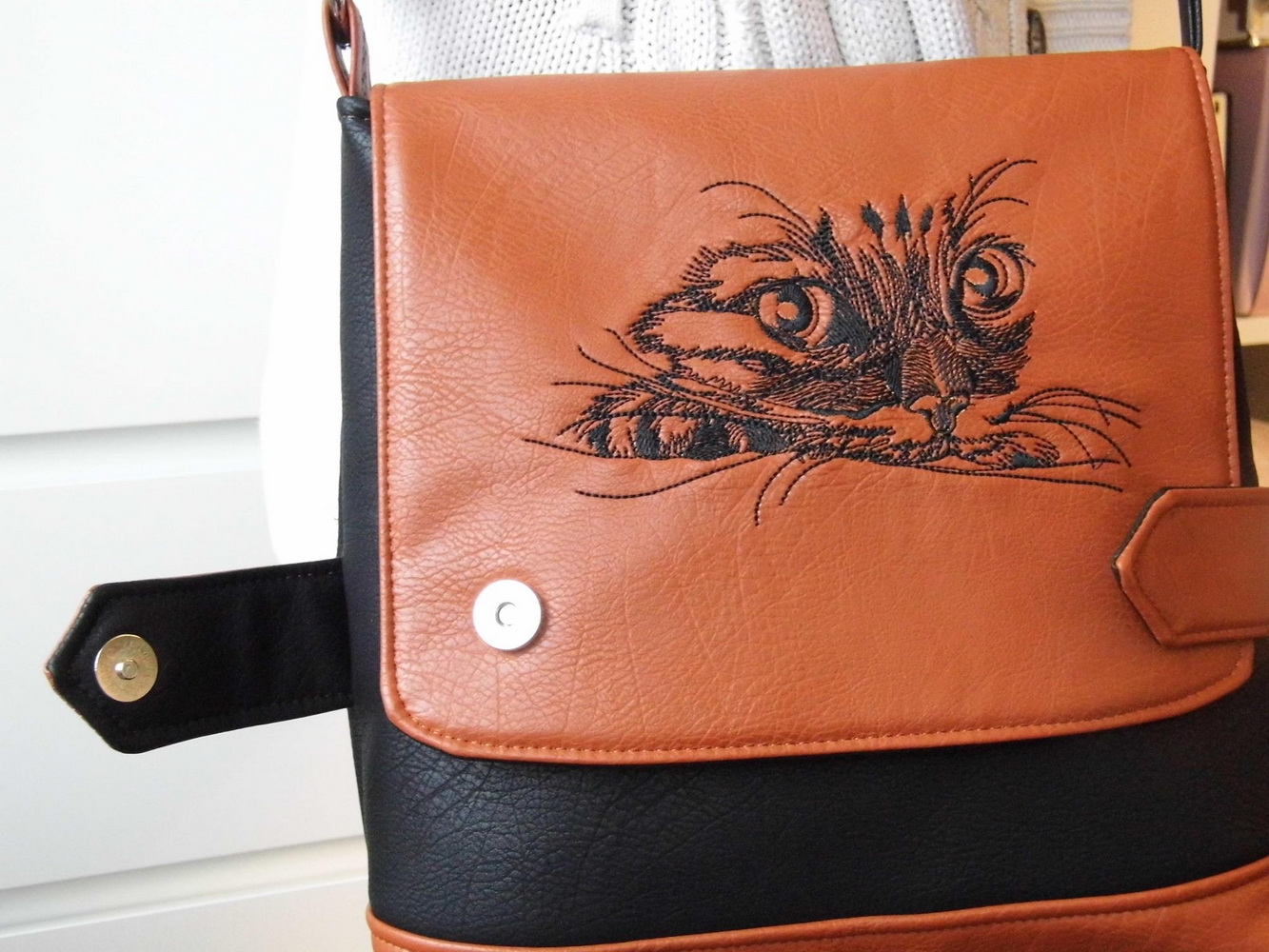 Curious cat 5 design on bag2