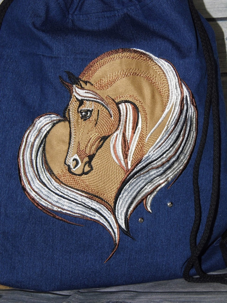 Dark blue bag embroidered with cute horse