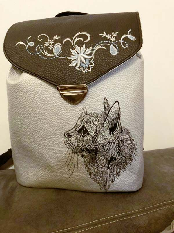 Womans bag with Fancy cat sketch embroidery design