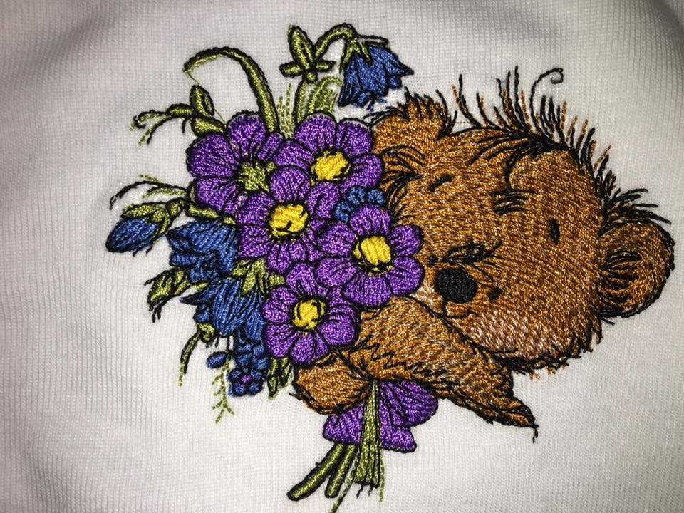 Flowers and cute bear embroidered design