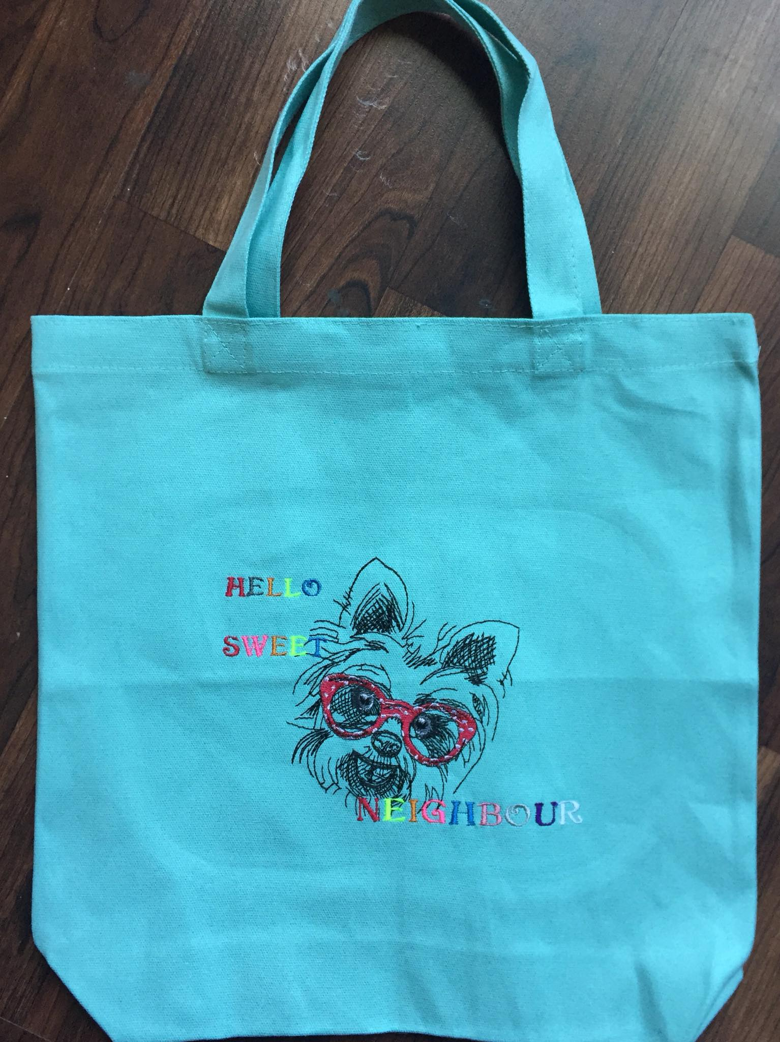 Shopping bag with cute dog embroidery design
