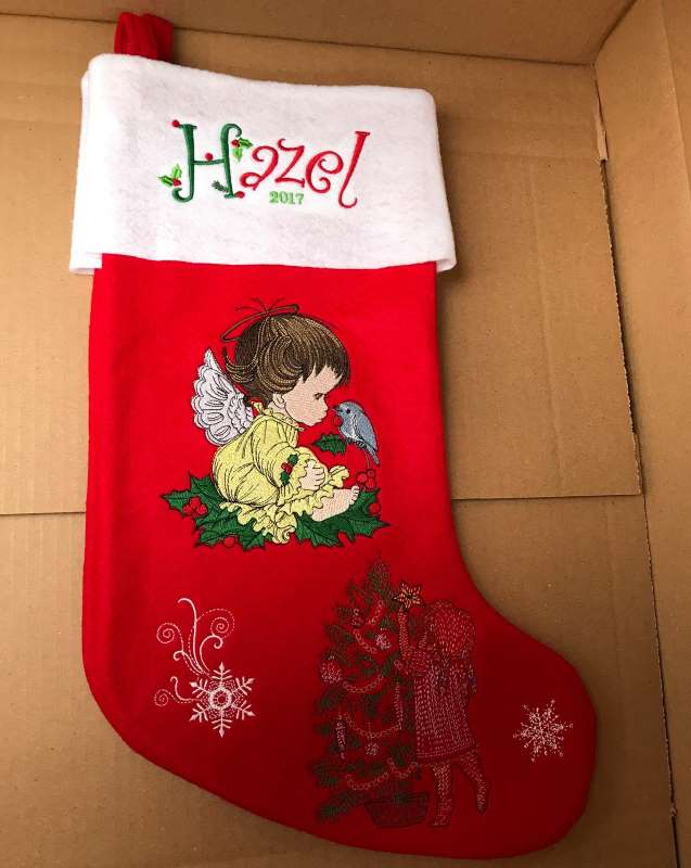 Embroidered Сhristmas stocking with cute angel design