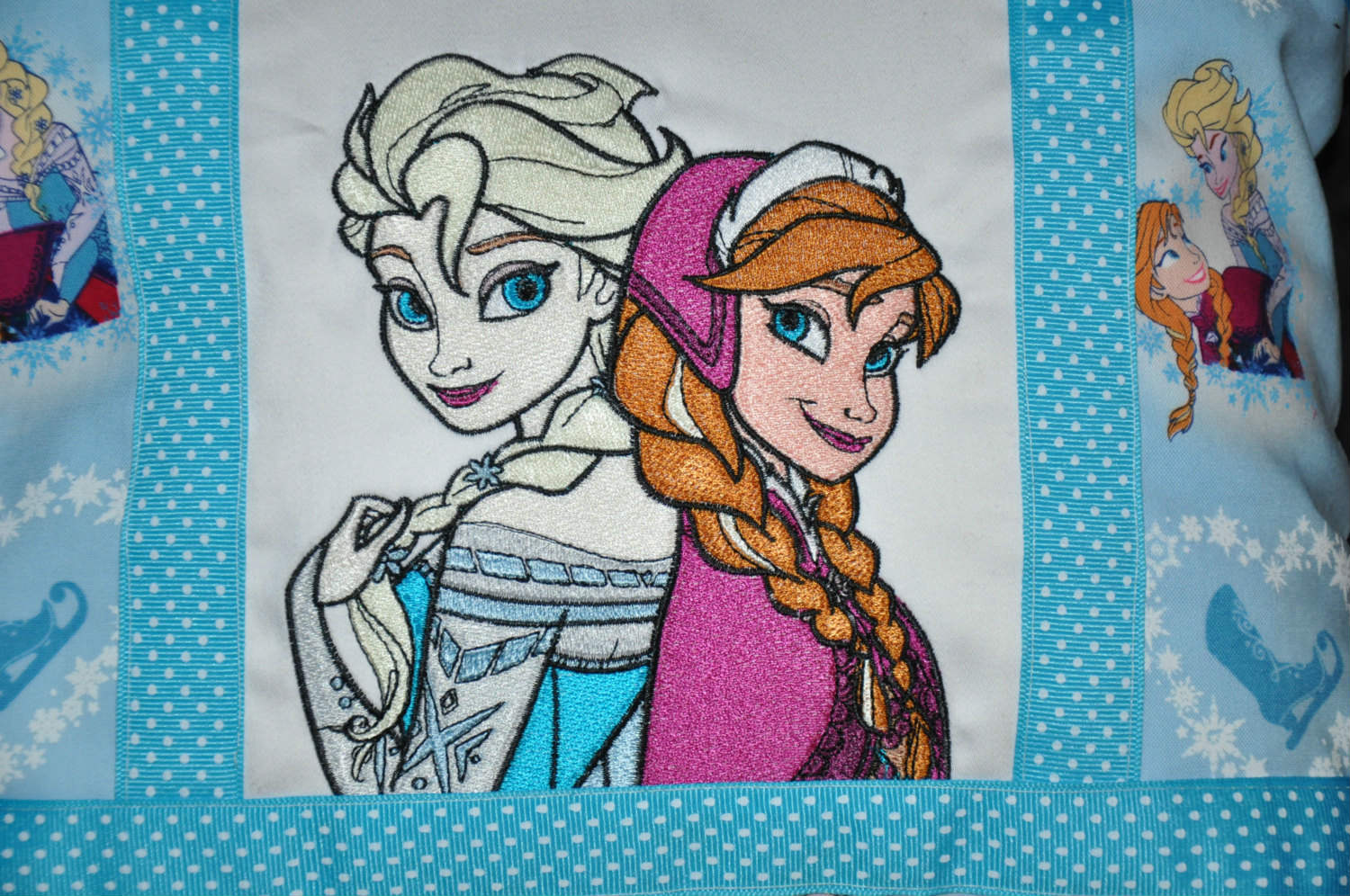 Frozen sisters embroidered on pillowcase