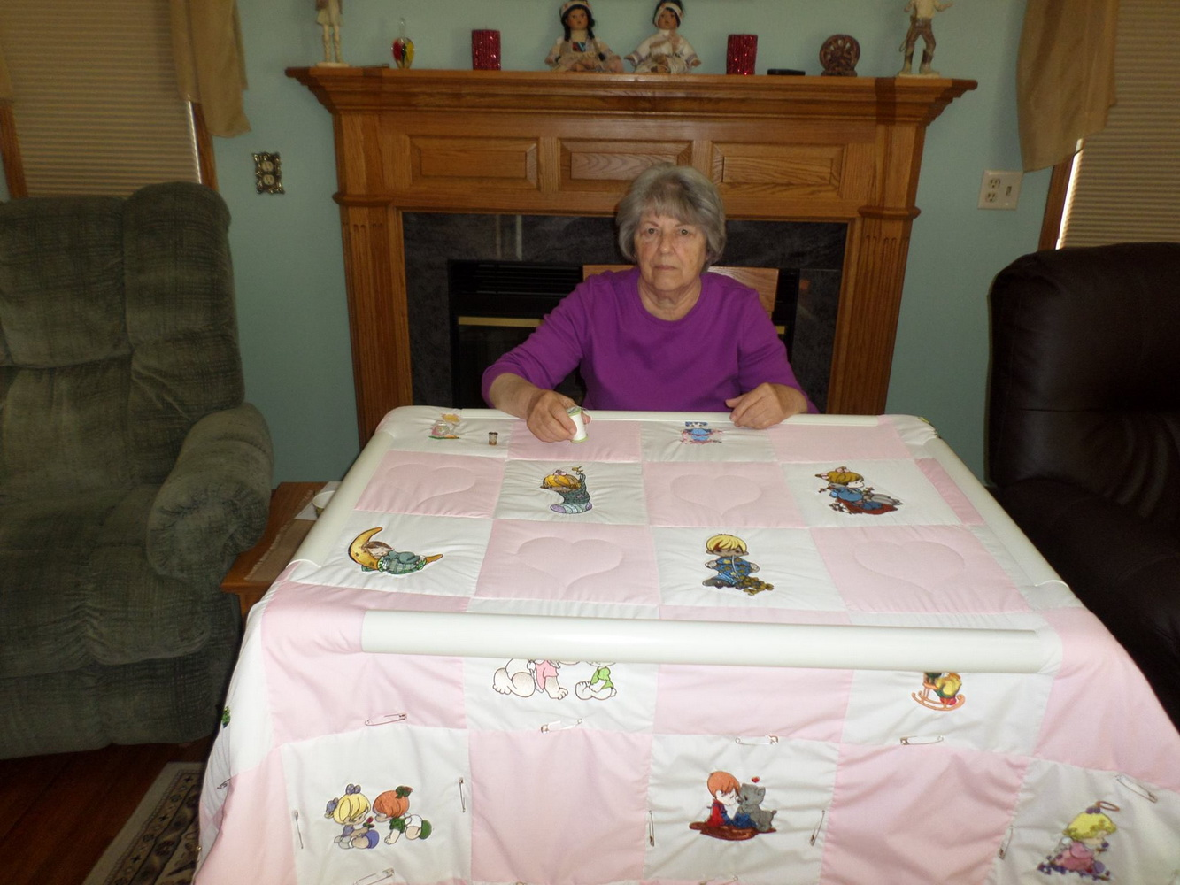 Embroidered Precious Moments designs on quilt