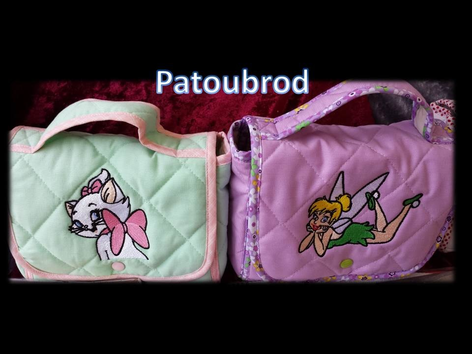 Cute kitten and fairy on embroidered bags