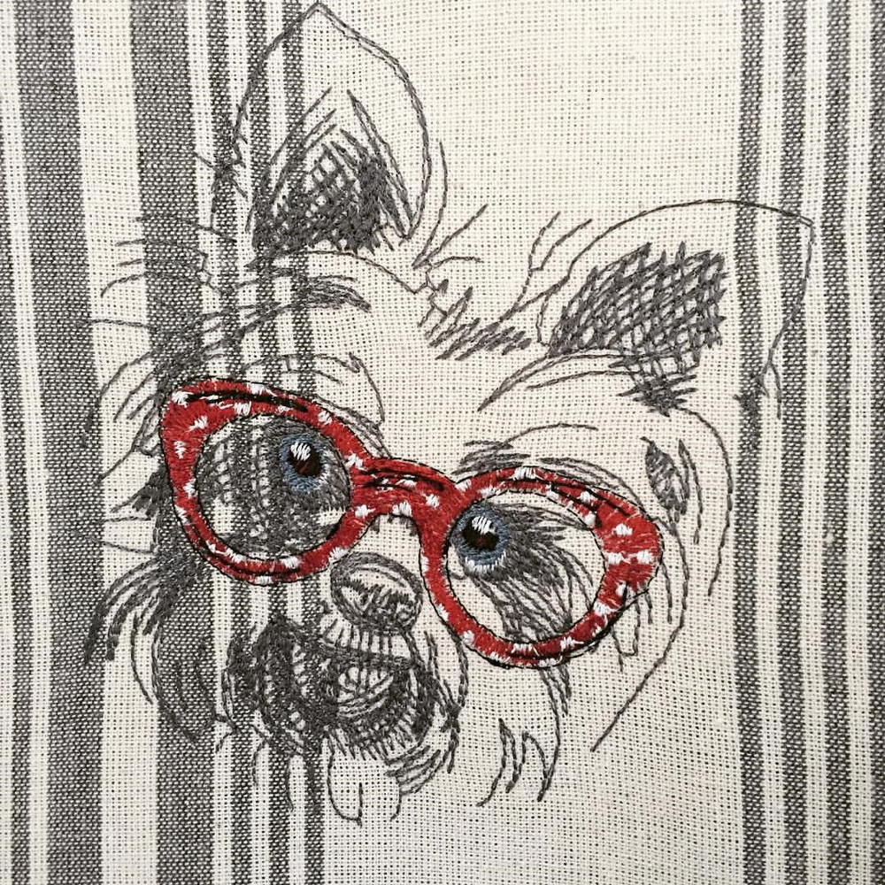 White terrier puppy embroidered on kitchen towel