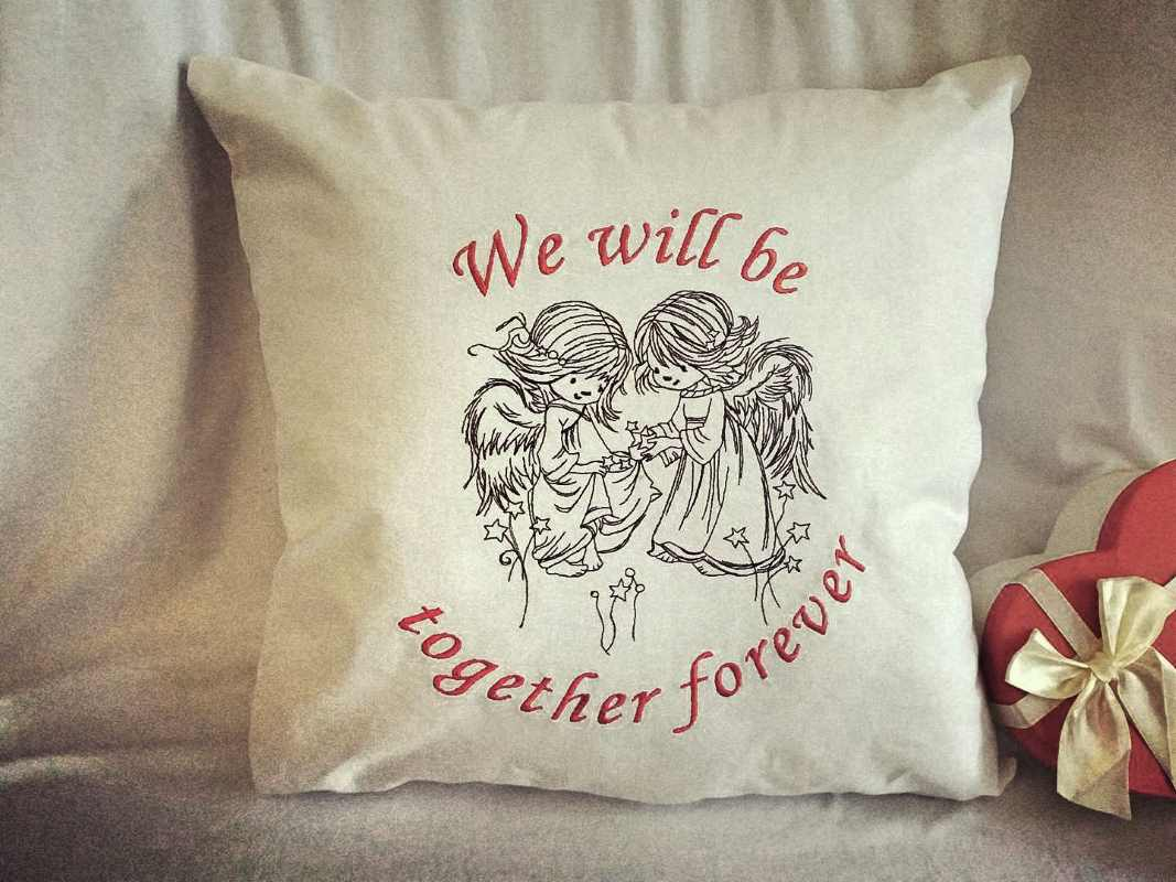 We will together forever embroidered cushion