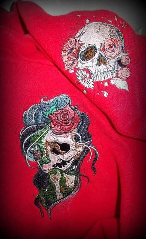 Embroidered skull and fancy girl designs