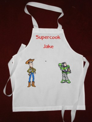 Woody and Buzz embroidered on apron