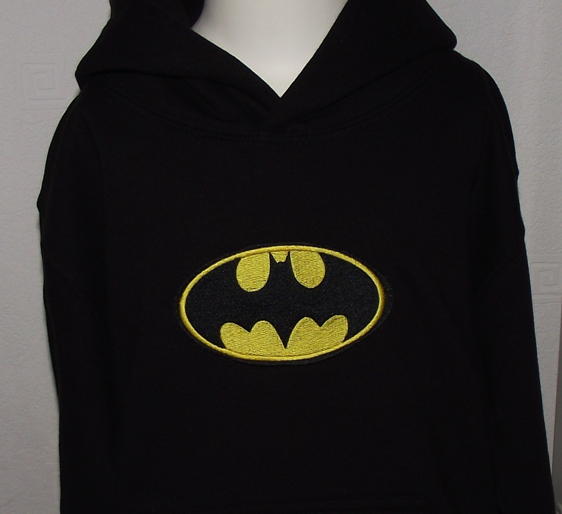 Jacket with Batman logo machine embroidery design