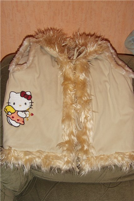 Hello Kitty cupid design on beige embroidred jacket