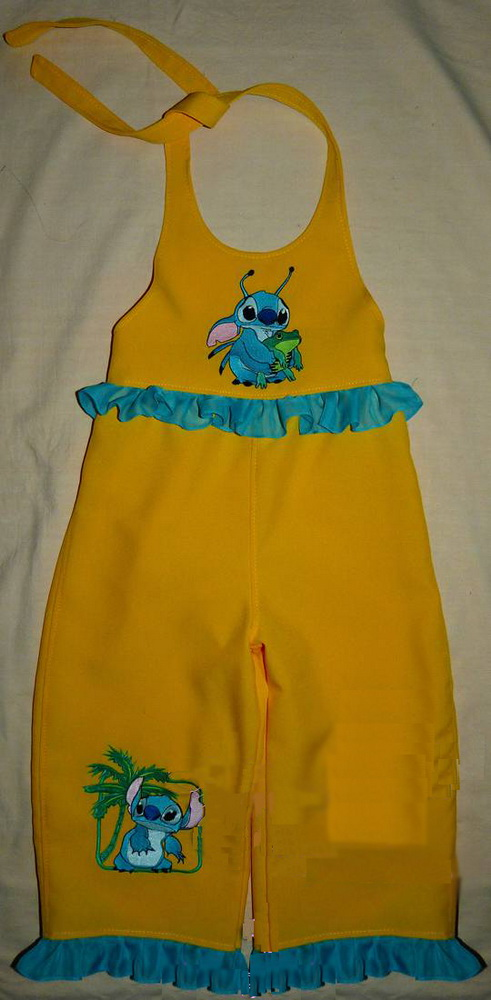Stitch and frog embroidered on yellow pants