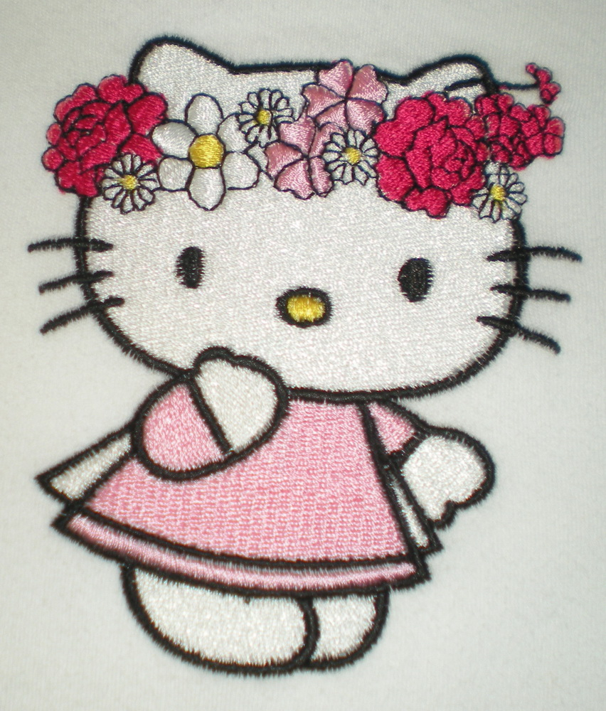 Hello kitty design on baby wear embroidered