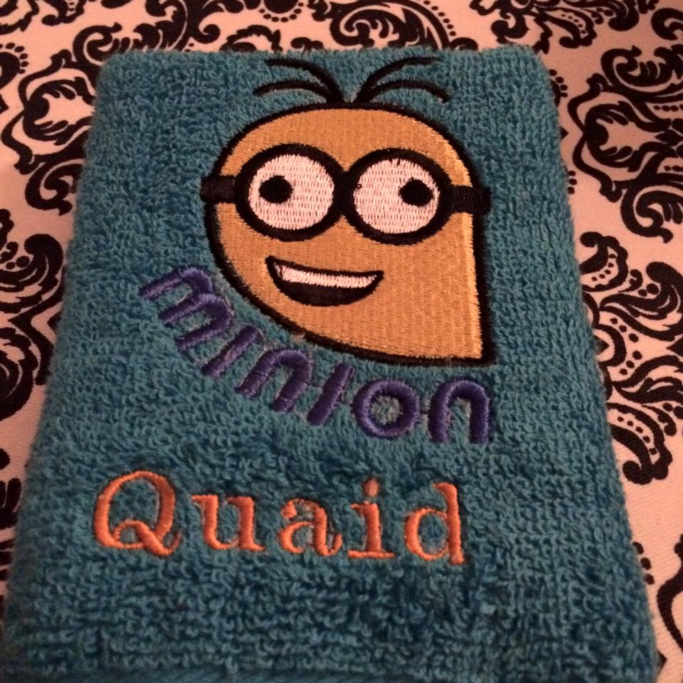 Crazy Minion on  towel embroidered