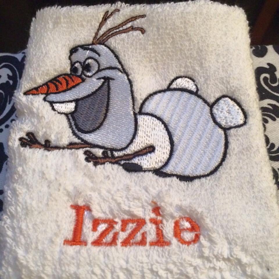 Olaf flying design on towel embroidered