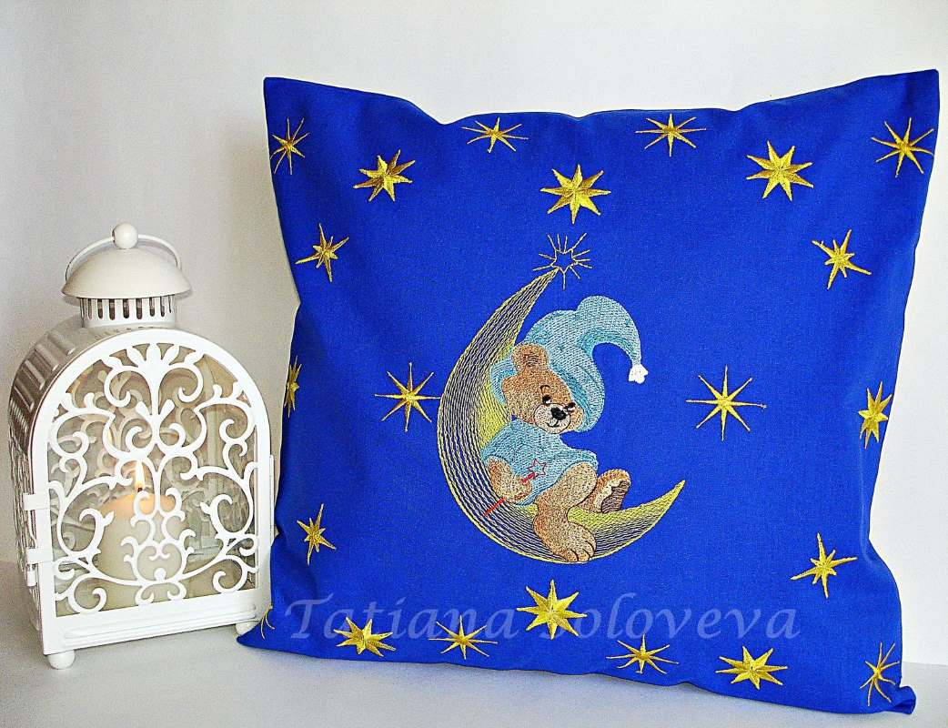 Newborn gift with Teddy bear and moon embroidery