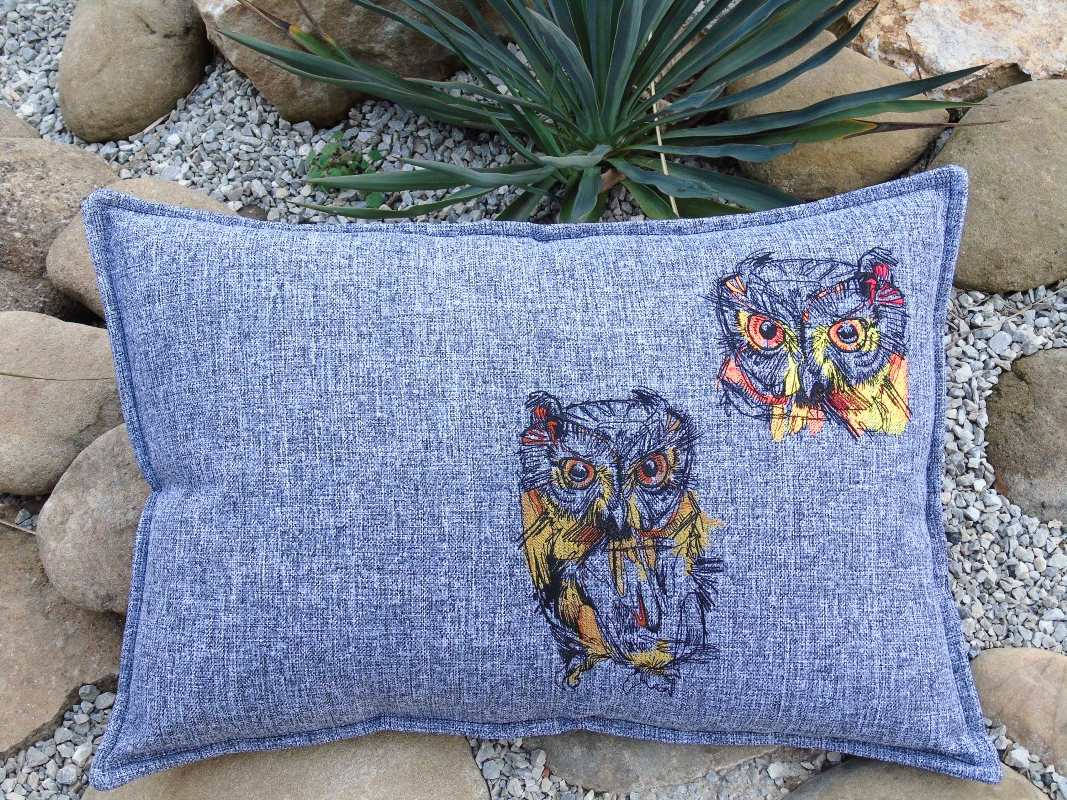 Cushion with owl sketch embroidery designs