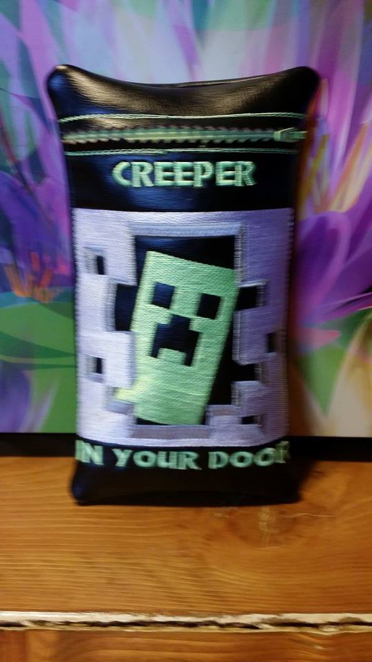 Minecraft Creeper embroidered on small leather bag