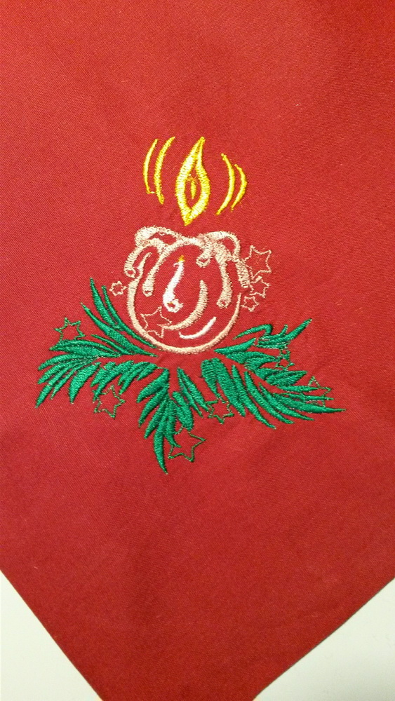 Christmas Candle design embroidered