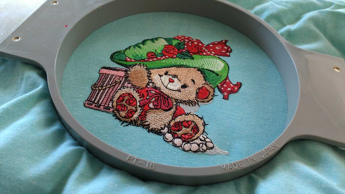fashion teddy in hoop embroidery design