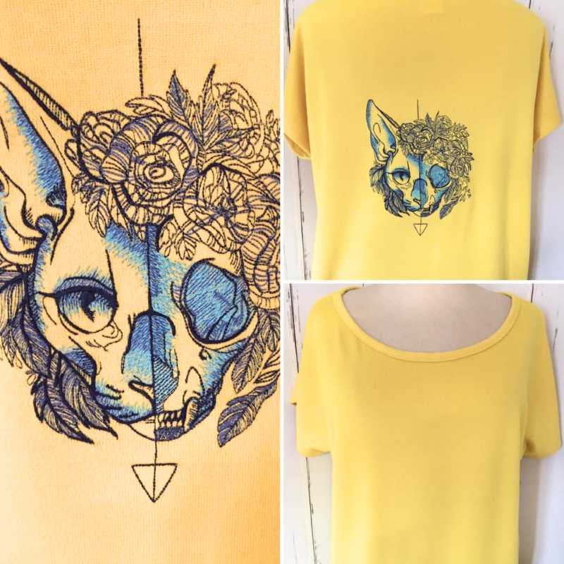 Cotton t-hirt with cat embroidery design