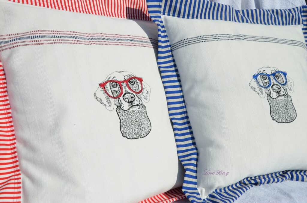 Cushions with dog hipster embroidery design
